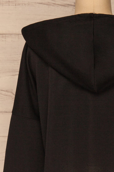 Nimegen Black Cropped Hooded Sweater | La petite garçonne back close-up