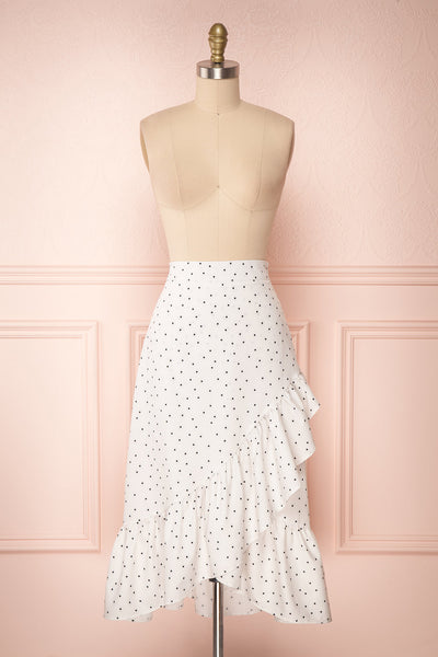 Nimfea White Polka Dot Ruffled Skirt | Jupe Midi | Boutique 1861 front view