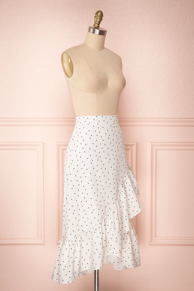 Nimfea White Polka Dot Ruffled Skirt | Jupe Midi | Boutique 1861 side view