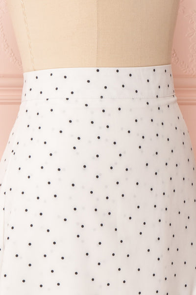 Nimfea White Polka Dot Ruffled Skirt | Jupe Midi | Boutique 1861 side close up