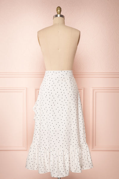 Nimfea White Polka Dot Ruffled Skirt | Jupe Midi | Boutique 1861 back view