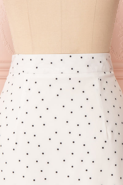 Nimfea White Polka Dot Ruffled Skirt | Jupe Midi | Boutique 1861 back close up