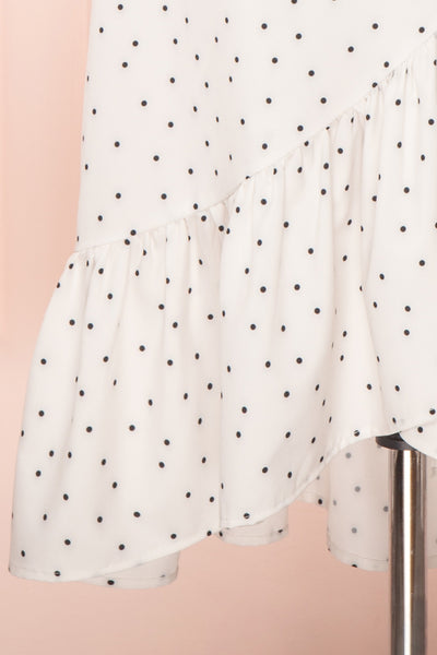 Nimfea White Polka Dot Ruffled Skirt | Jupe Midi | Boutique 1861 skirt close up