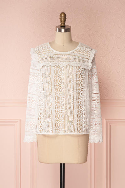 Nina-Lou White Crocheted Lace Long Sleeves Top | Boutique 1861 1