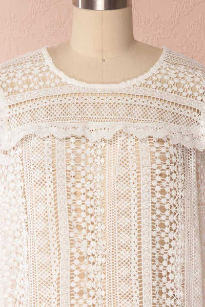 Nina-Lou White Crocheted Lace Long Sleeves Top | Boutique 1861 2