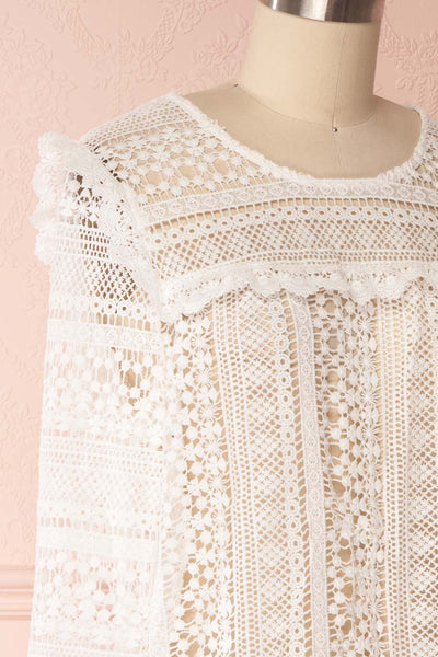 Nina-Lou White Crocheted Lace Long Sleeves Top | Boutique 1861 4