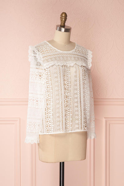 Nina-Lou White Crocheted Lace Long Sleeves Top | Boutique 1861 3