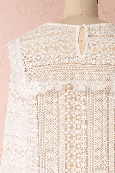 Nina-Lou White Crocheted Lace Long Sleeves Top | Boutique 1861 6