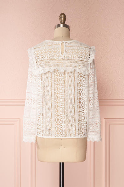 Nina-Lou White Crocheted Lace Long Sleeves Top | Boutique 1861 5