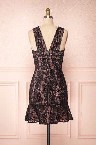 Nirvelli Black Lace Dress | Robe Cocktail back view | Boutique 1861