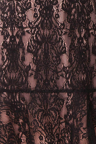 Nirvelli Black Lace Dress | Robe Cocktail fabric close up| Boutique 1861