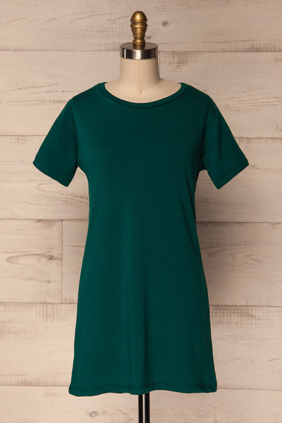 Noha Forest Green Simple Short Dress | La Petite Garçonne