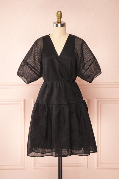 Nohemy Black Puffy Sleeve Wrap Dress | Boutique 1861 front view