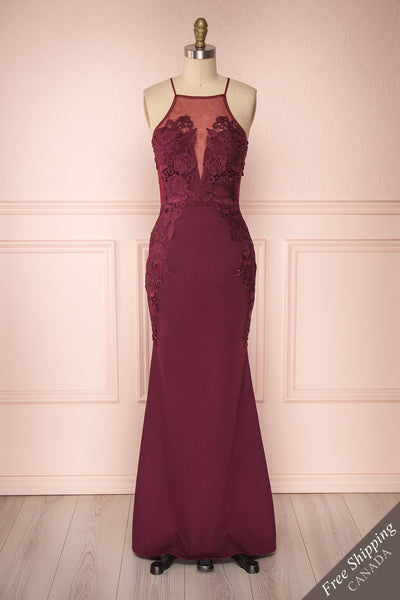 Nok Cardinal Burgundy Floral Mermaid Dress | Boutique 1861
