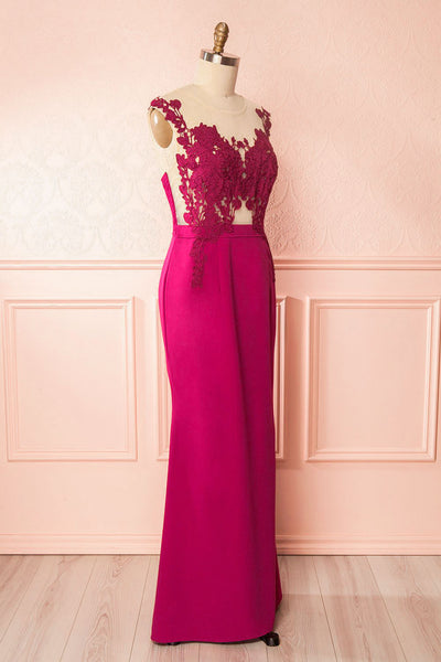 Noma Magenta Plus Size Gown with Mesh & Lace Bodice side view | Boutique 1861