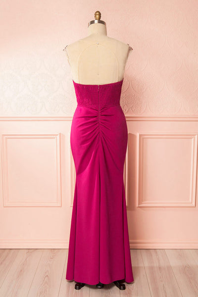 Noma Magenta Plus Size Gown with Mesh & Lace Bodice back view | Boutique 1861
