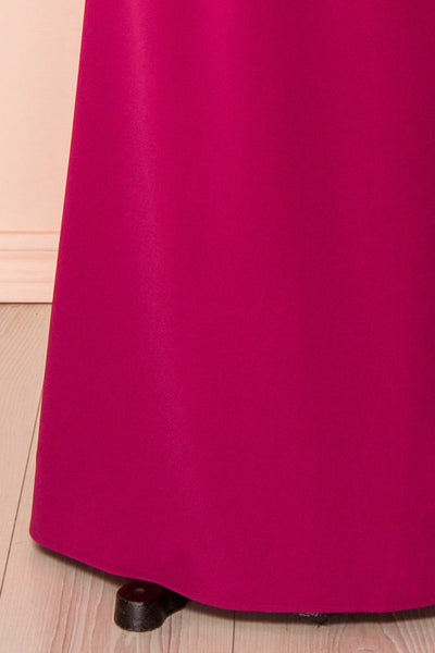 Noma Magenta Plus Size Gown with Mesh & Lace Bodice bottom close-up | Boutique 1861