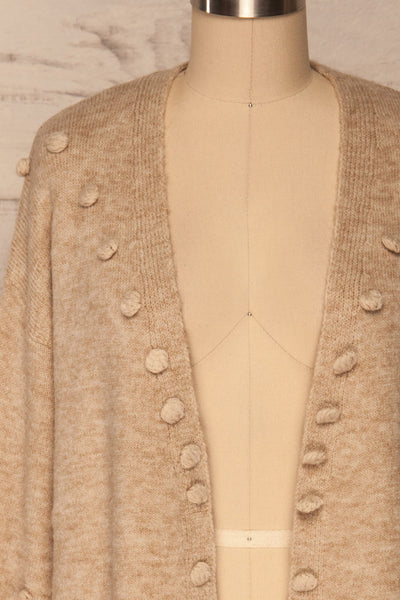 Nonie Beige Sweater | Cardigan front close up | La Petite Garçonne
