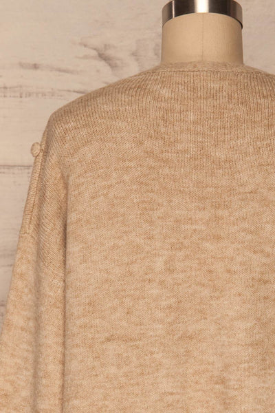 Nonie Beige Sweater | Cardigan back close up | La Petite Garçonne
