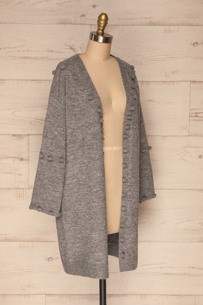 Nonie Grey Sweater | Cardigan side view | La Petite Garçonne