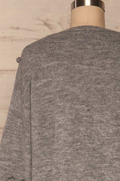 Nonie Grey Sweater | Cardigan back close up | La Petite Garçonne