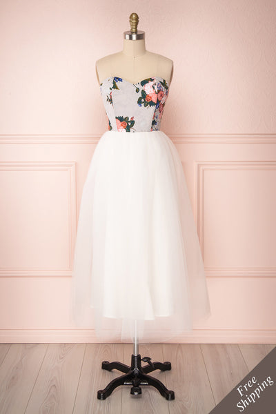 Noraini Floral Printed White Tulle Bustier Dress | Boutique 1861