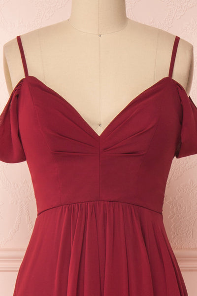 Norhai Bourgogne Burgundy Chiffon Off-Shoulder Gown | Boudoir 1861 front close-up
