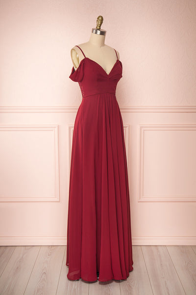 Norhai Bourgogne Burgundy Chiffon Off-Shoulder Gown | Boudoir 1861 side view