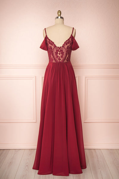 Norhai Bourgogne Burgundy Chiffon Off-Shoulder Gown | Boudoir 1861 back view