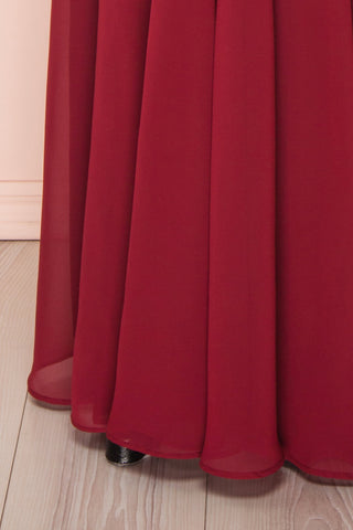 Norhai Bourgogne Burgundy Chiffon Off-Shoulder Gown | Boudoir 1861 bottom close-up