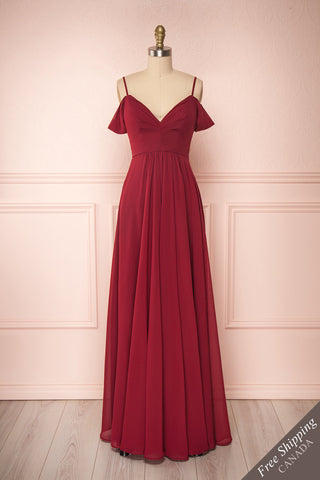 Norhai Bourgogne Burgundy Chiffon Off-Shoulder Gown | Boudoir 1861 front view