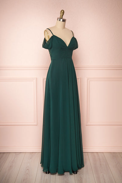 Norhai Émeraude Emerald Chiffon Off-Shoulder Gown | Boudoir 1861 side view