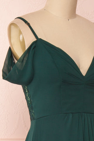 Norhai Émeraude Emerald Chiffon Off-Shoulder Gown | Boudoir 1861 side close-up