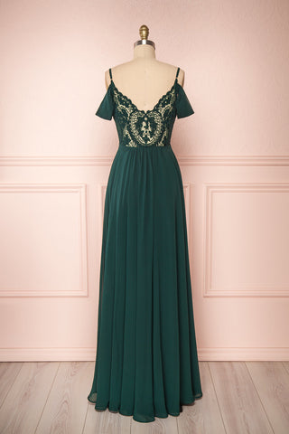 Norhai Émeraude Emerald Chiffon Off-Shoulder Gown | Boudoir 1861 back view
