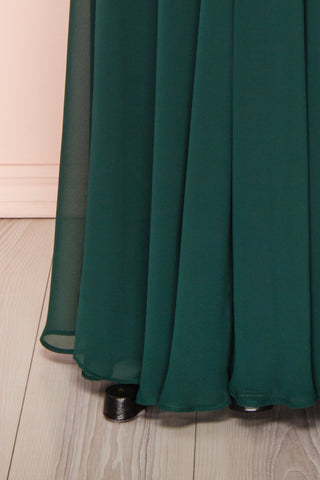 Norhai Émeraude Emerald Chiffon Off-Shoulder Gown | Boudoir 1861 bottom close-up