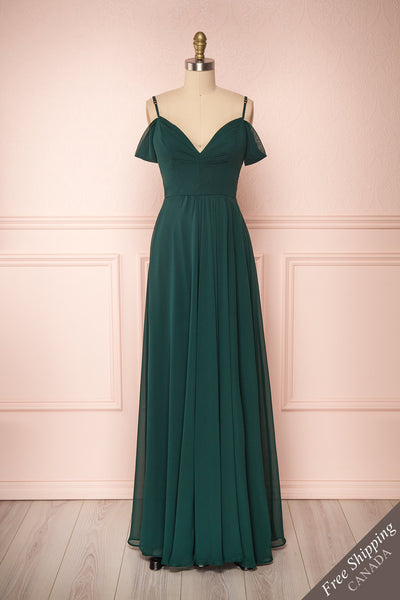 Norhai Émeraude Emerald Chiffon Off-Shoulder Gown | Boudoir 1861 front view