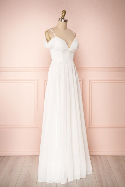 Norhai Ivoire Ivory Chiffon Off-Shoulder Gown | Boudoir 1861 side view
