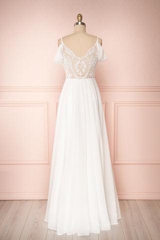 Norhai Ivoire Ivory Chiffon Off-Shoulder Gown | Boudoir 1861 back view