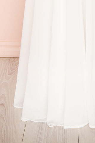 Norhai Ivoire Ivory Chiffon Off-Shoulder Gown | Boudoir 1861 bottom close-up
