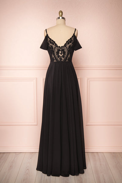 Norhai Noire Black Chiffon & Lace Off-Shoulder Gown | Boudoir 1861 back view