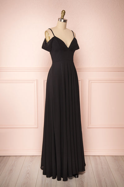 Norhai Noire Black Chiffon & Lace Off-Shoulder Gown | Boudoir 1861 side view