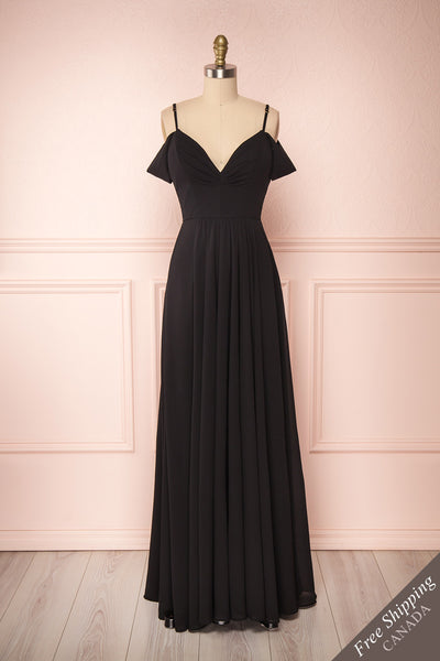 Norhai Noire Black Chiffon & Lace Off-Shoulder Gown | Boudoir 1861 front view