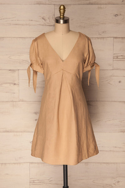Novegrate Beige Puff Sleeved Summer Dress | La Petite Garçonne