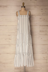 Novello Blue-Grey Striped Flared Summer Dress | La Petite Garçonne