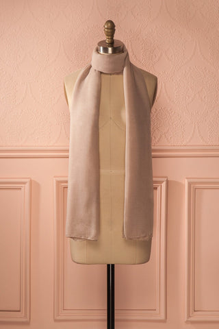 Nuancé Sable - Long beige solid scarf