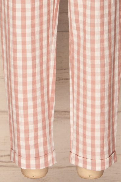 Nucice Blush & White Gingham High-Waisted Pants | La Petite Garçonne