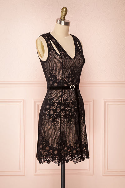 Nuying Black & Beige Lace A-Line Cocktail Dress | Boutique 1861 3