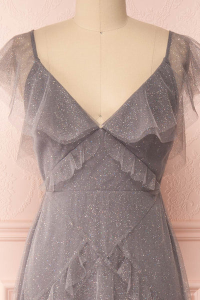 Nyssa Grey Layered Tulle Dress | Robe Grise | Boutique 1861 front close-up