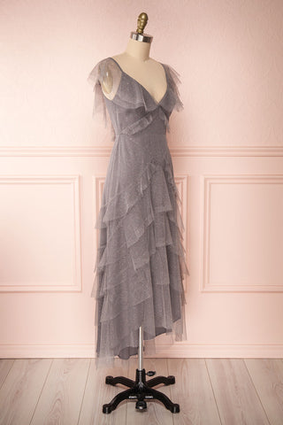 Nyssa Grey Layered Tulle Dress | Robe Grise | Boutique 1861 side view