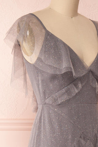 Nyssa Grey Layered Tulle Dress | Robe Grise | Boutique 1861 side close-up